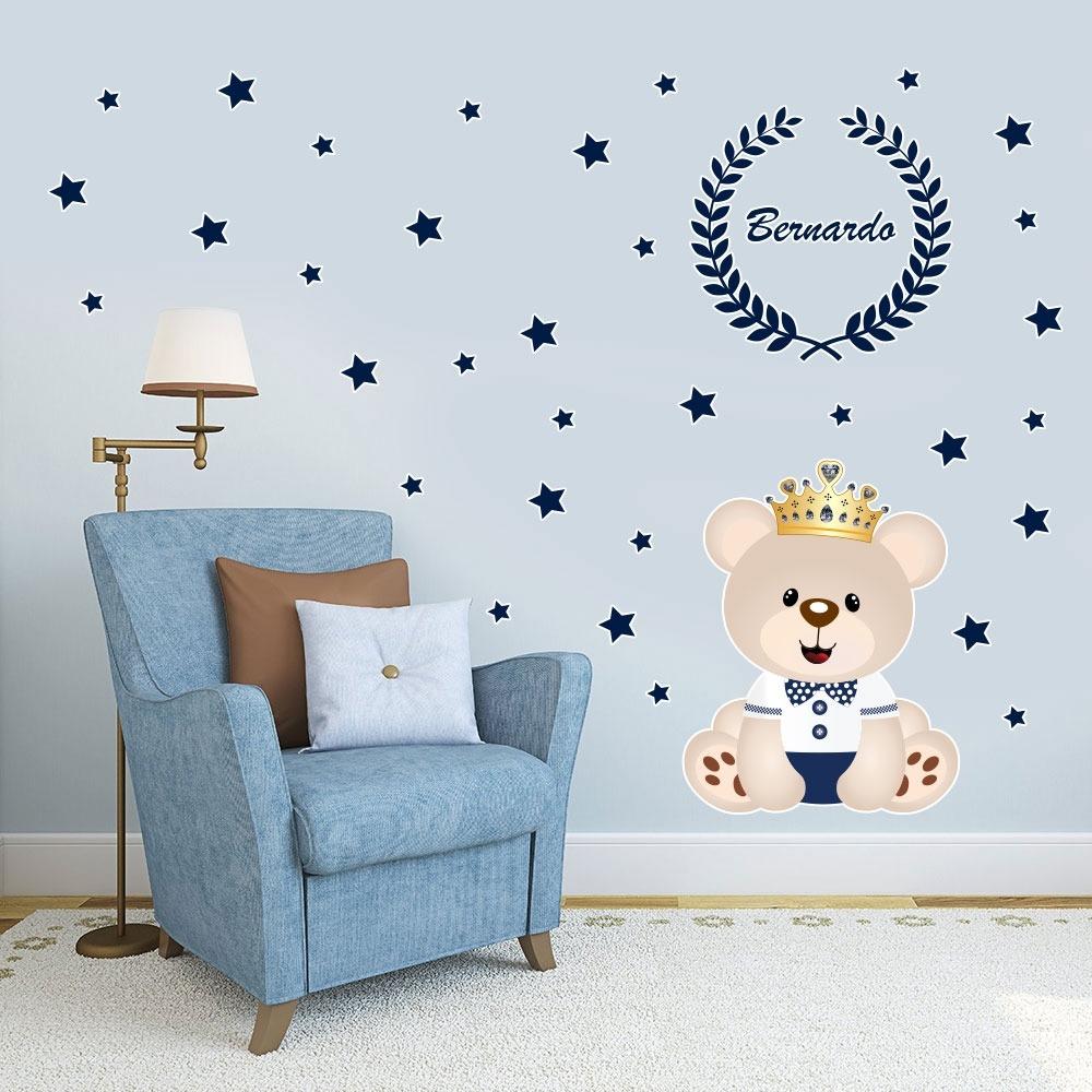 Artesanato Holandes ~ Adesivo De Parede Urso Príncipe Nome Personalizado 65x65cm
