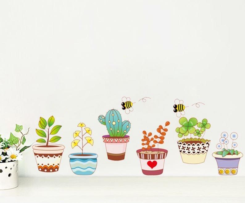 Aparador De Livros Em Ingles ~ Adesivo De Parede Vasos Decorativos Flores E Plantas Abelhas R$ 59,90 em Mercado Livre