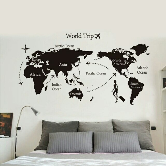 Adesivo De Parede Espelhado ~ Adesivo De Parede Viagem Volta Ao Mundo Mapa Mundi Preto