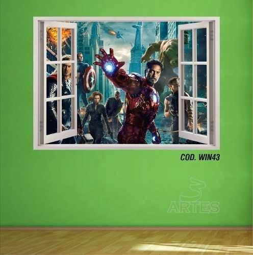adesivo de parede vingadores avengers 3d 3 artes (cod.win43)