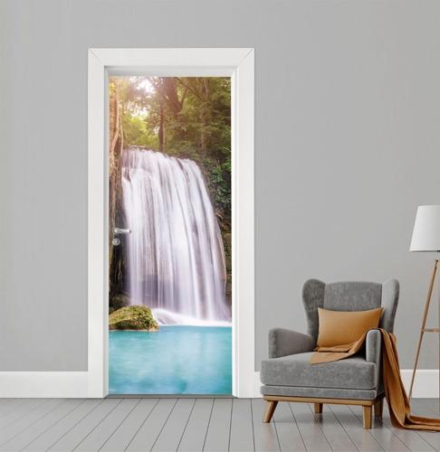 adesivo de porta vidro ou madeira cachoeira natureza