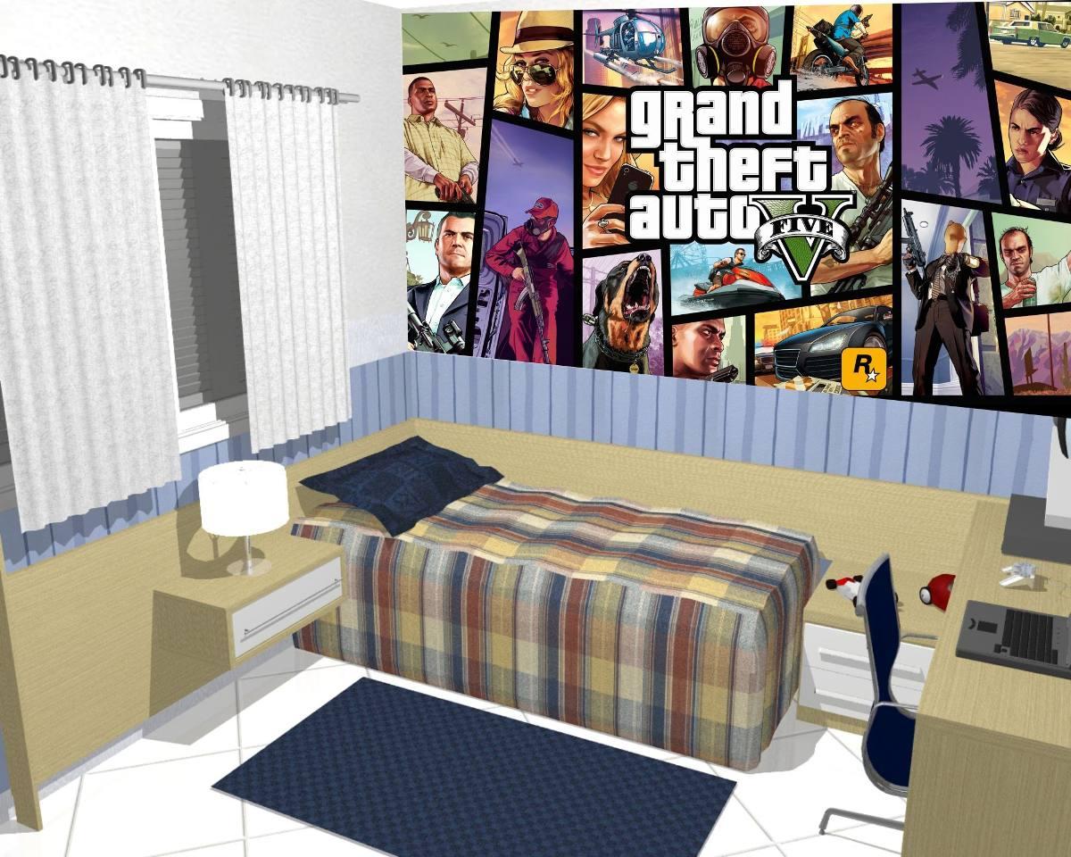 Papel de parede adesivo decora o painel game gta 9m r for Papel pared personalizado foto