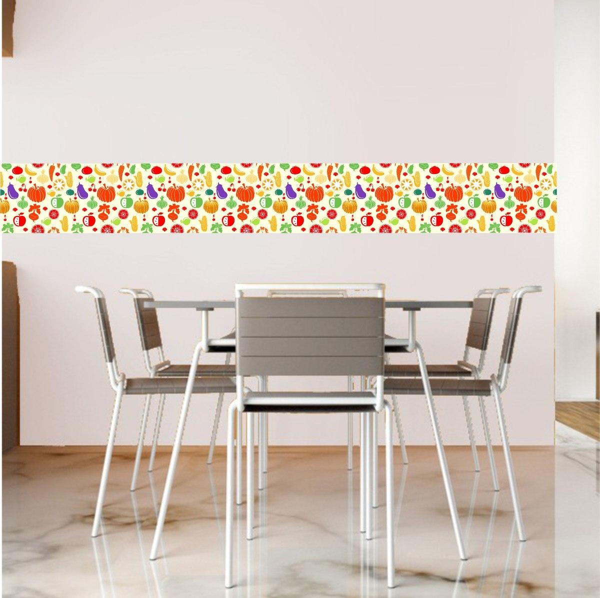 Adesivo Mesa De Jantar ~ Adesivo Decoraç u00e3o Parede Cozinha Faixa Frutas Legumes R$ 16,99 em Mercado Livre