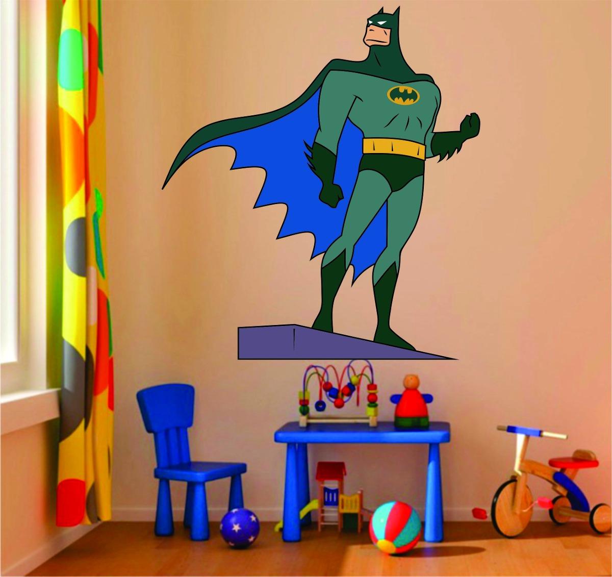 Aparador Para Sala De Estar Com Vidro ~ Adesivo Decoraç u00e3o Parede Quarto Infantil Batman Super Herói R$ 42,99 em Mercado Livre