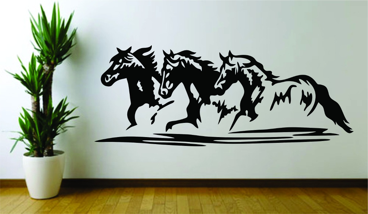 Tecido Adesivo De Mandala ~ Adesivo Decoraç u00e3o Parede Sala Animal Cavalo Galopando Cowboy R$ 89,99 em Mercado Livre