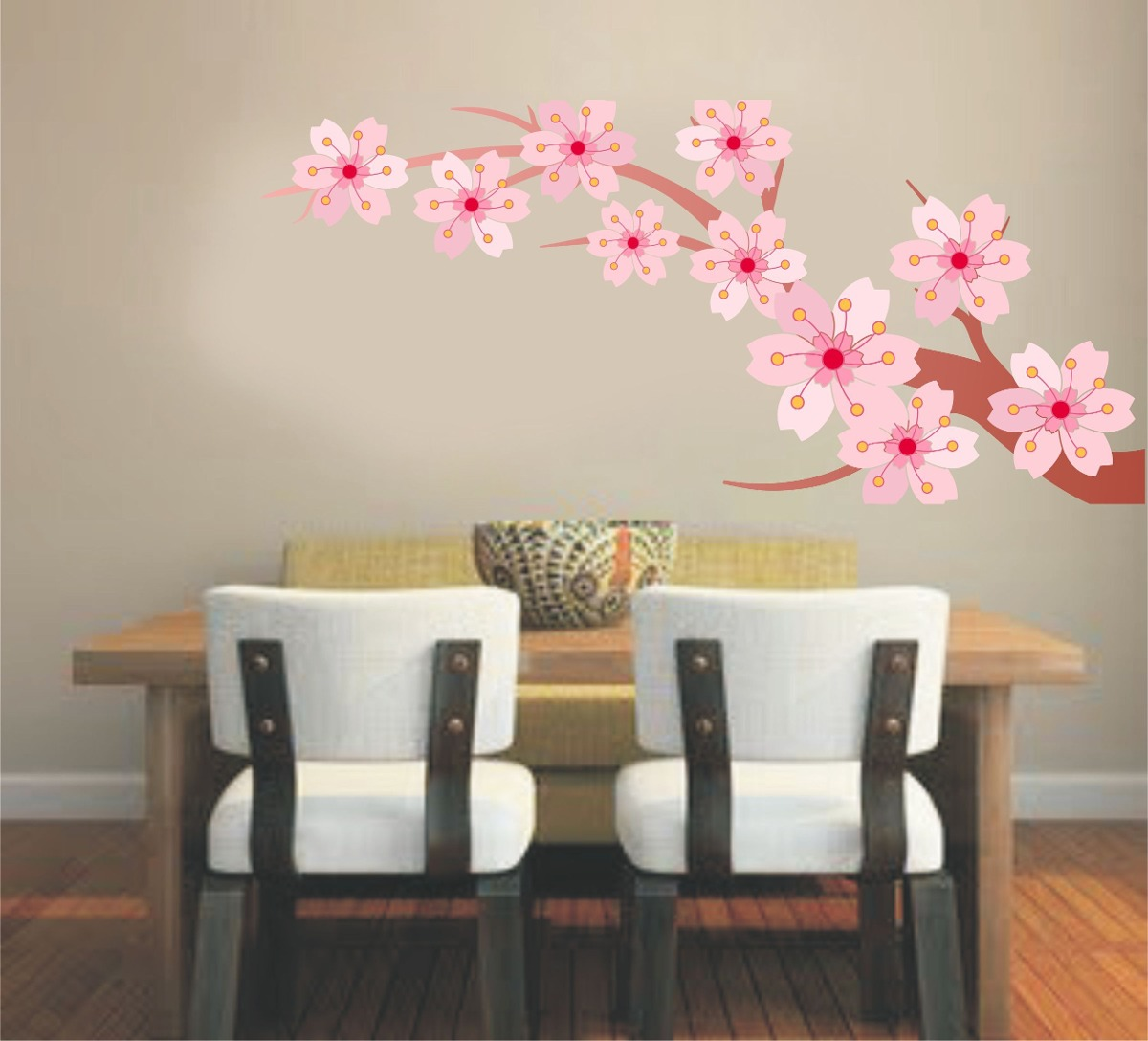 Adesivo Decora O Parede Sala Rvore Galho Floral Flor Rosa R 59  -> Adesivo Para Decoracao De Sala