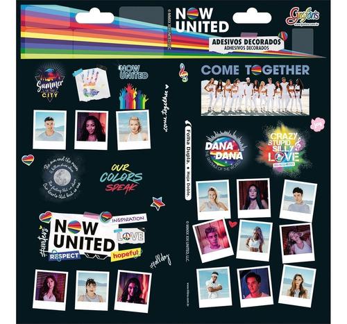 adesivo decorado duplo now united kit c/3 cartelas