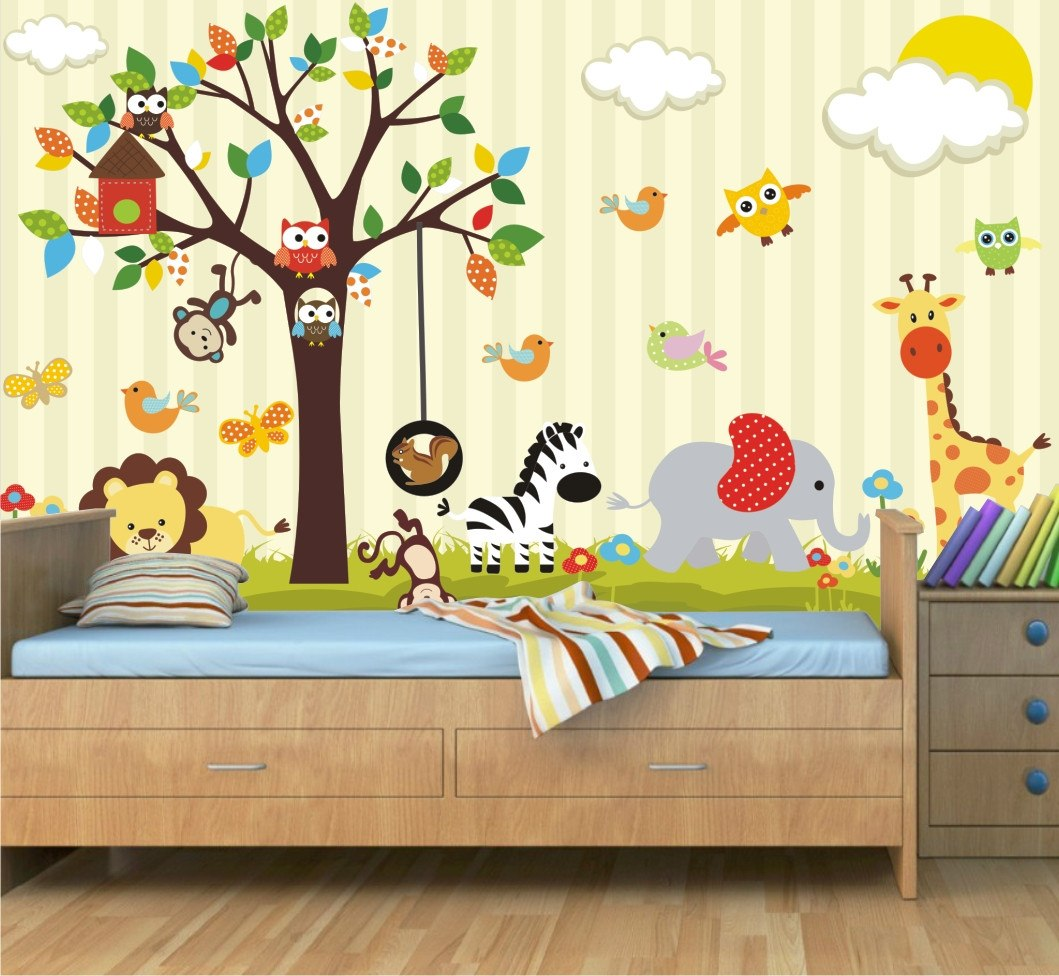 Adesivo Decorativo Infantil De Parede ~ Adesivo Decorativo Animais Parede Infantil Painel Zoo Mod08 R$ 99,00 em Mercado Livre