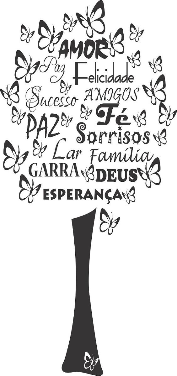 Adesivo Decorativo Arvore Borboletas E Palavras E Frases R 4811
