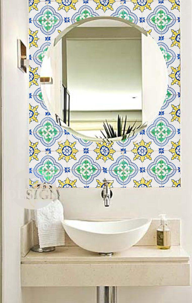 Adesivo decorativo azulejo portugu s ladrilho frete gr tis for Azulejo 15x15