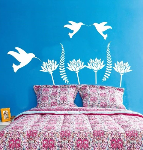 adesivo decorativo beija - flores (110x73)cm