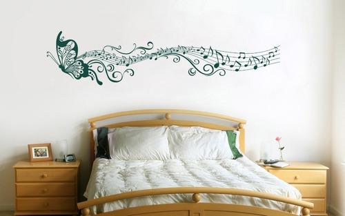 adesivo decorativo borboleta com notas musicais grande
