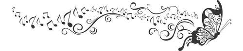 adesivo decorativo borboleta musical, quarto, sala, estudio