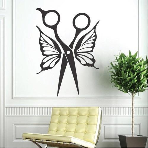 adesivo decorativo borboleta salão tesoura cabeleireiro