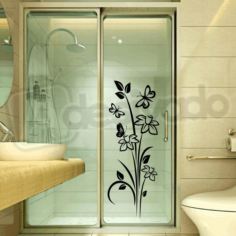 Aparador Tampo De Vidro Branco ~ Adesivo Decorativo Box Banheiro Floral Com Borboletas