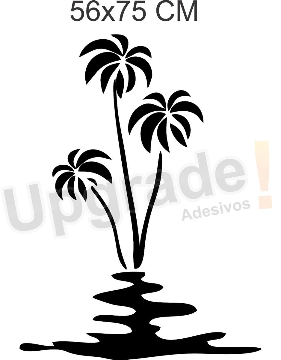 Aparador Wahl É Bom ~ Adesivo Decorativo Coqueiro Mar Papel Parede Floral Sala R$ 23,90 em Mercado Livre