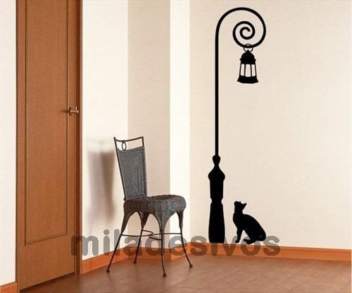 adesivo decorativo d parede poste de luz, luminária com gato