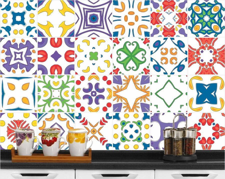 Adesivo decorativo de azulejo hidr ulico cozinha 15x15 r for Azulejo 15x15