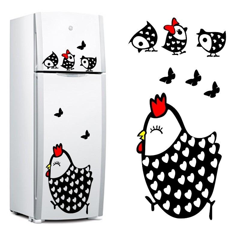 Artesanato Com Tecido E Cola ~ Adesivo Decorativo De Geladeira Galinha E Pintihos Cozinha R$ 66,90 em Mercado Livre