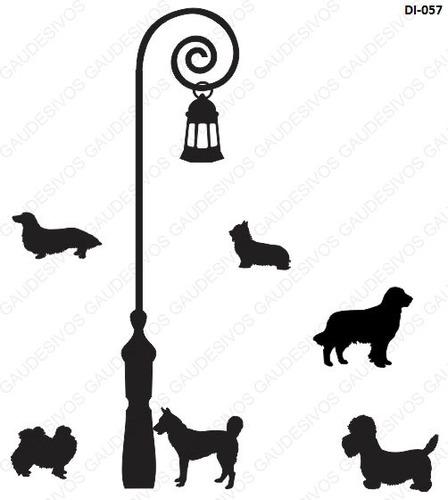 adesivo decorativo de parede 6 cachorro e poste grande box