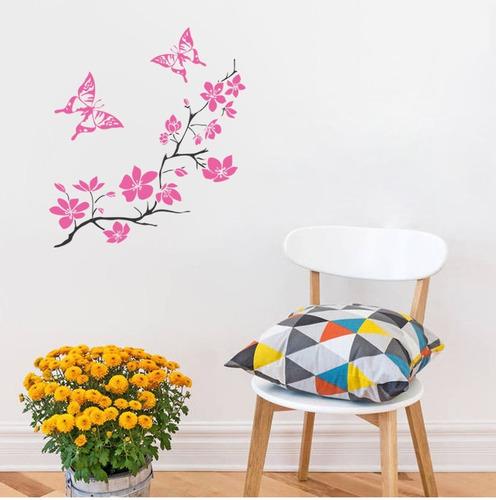 adesivo decorativo de parede borboletas galho árvore flor
