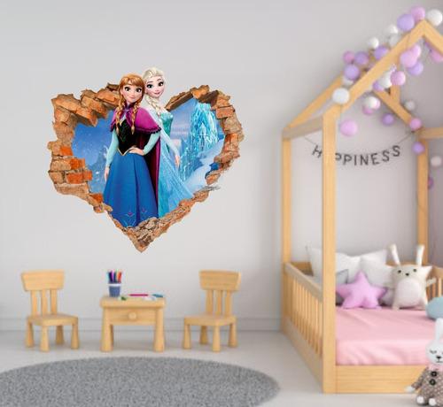 adesivo decorativo de parede buraco falso frozen 63,4x60cm