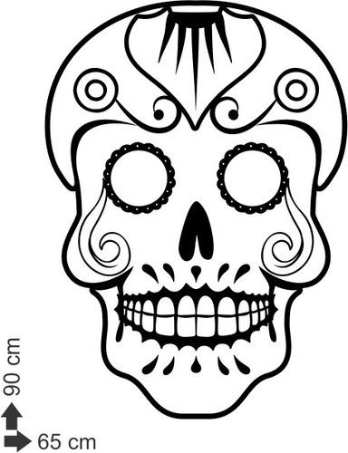 adesivo decorativo de parede caveira mexicana 90x65cm