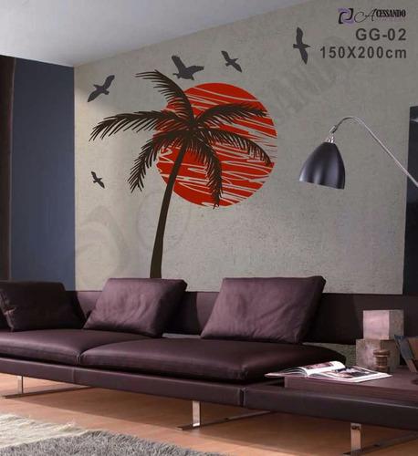 adesivo decorativo de parede - coqueiro no por do sol - novo