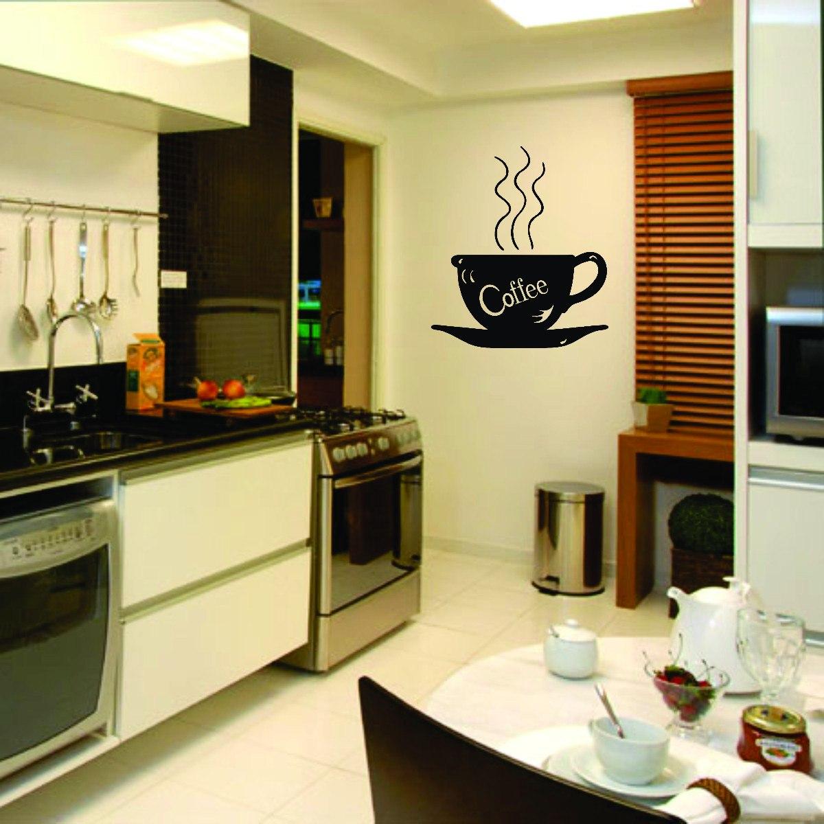 Adesivo Decorativo De Parede Cozinha Cafe Coffee Pia Armário R$ 18  #B64907 1200x1200