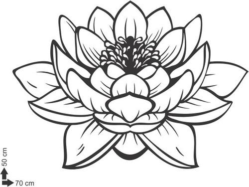 adesivo decorativo de parede flor de lótus floral 50x70cm