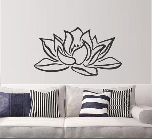 adesivo decorativo de parede flor de lótus vida 90x50cm