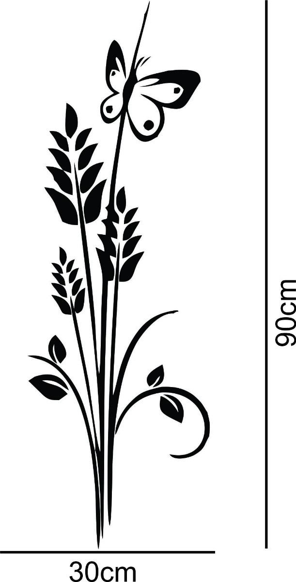 Aparador Verde Envejecido ~ Adesivo Decorativo De Parede Floral Flor Borboleta R$ 24,98 em Mercado Livre