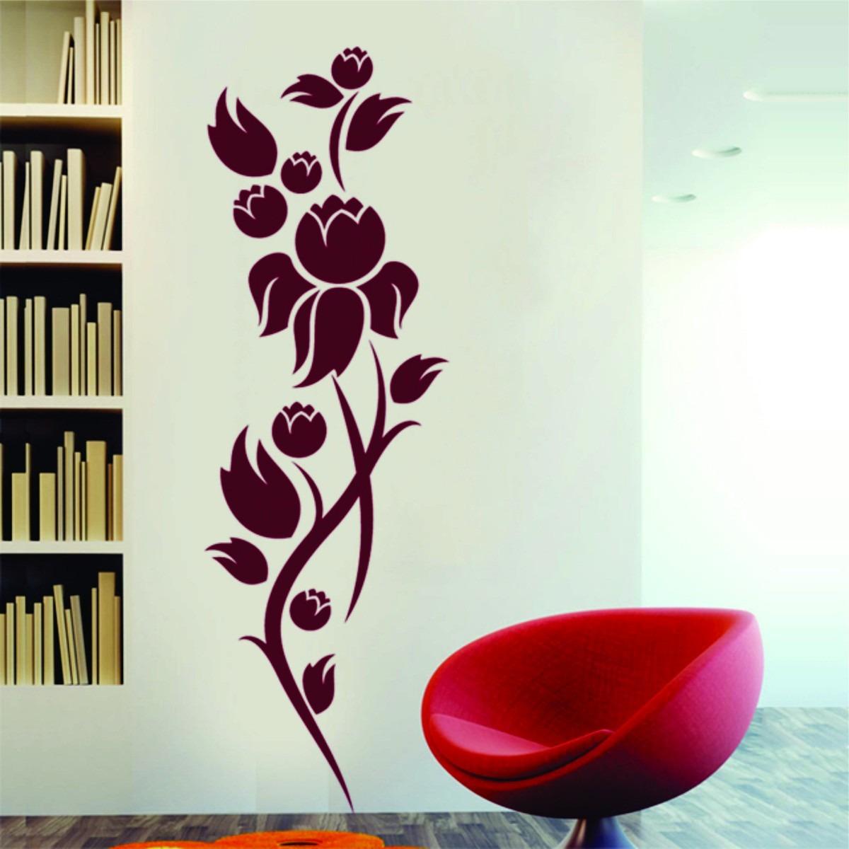 Artesanato Sergipano ~ Adesivo Decorativo De Parede Floral Flor Rosa R$ 29,98