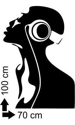 adesivo decorativo de parede fone música mulher 70x100 cm