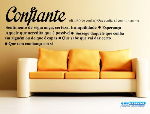 adesivo decorativo de parede frase significado de confiante