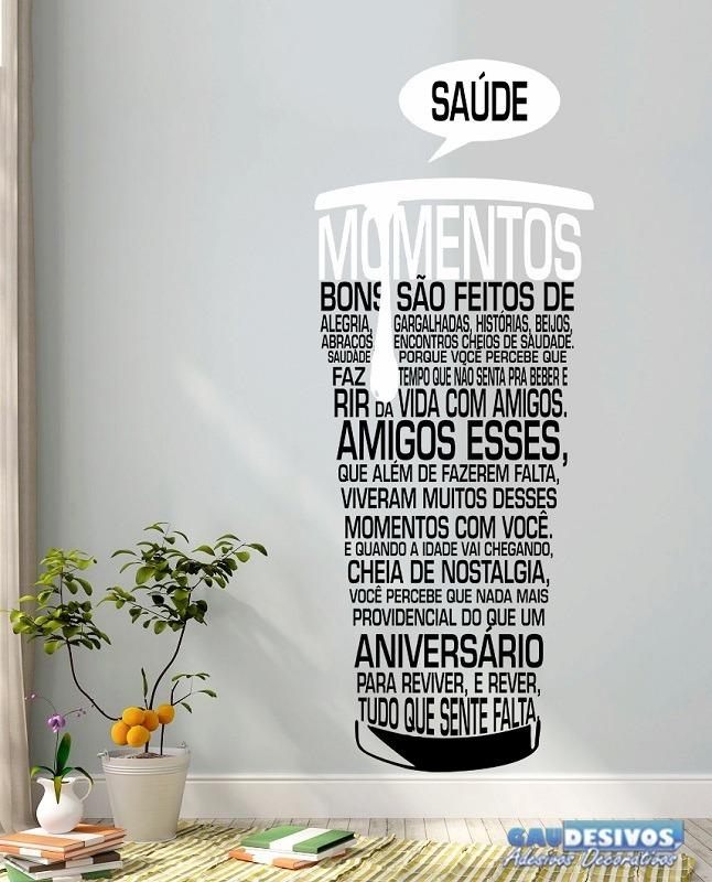 Adesivo Decorativo De Parede Frases Copo Momentos R 4764 Em