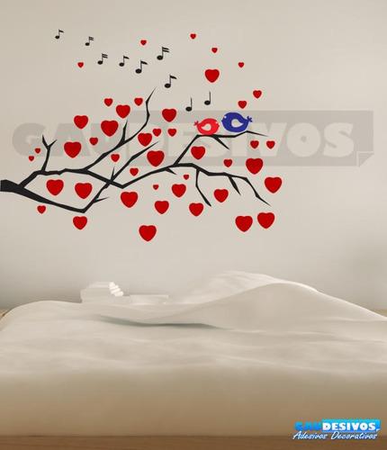 adesivo decorativo de parede galhos com pássaros coloridos