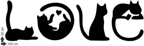 adesivo decorativo de parede gato gatinhos love amor escrita