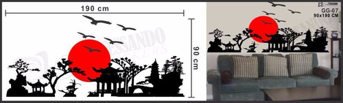 adesivo decorativo de parede - jardim oriental - japones