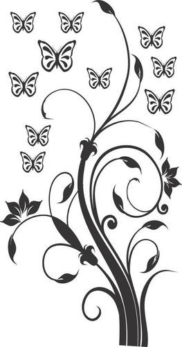 adesivo decorativo de parede jateado floral e borboleta