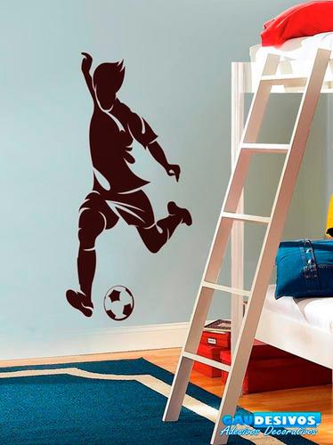 adesivo decorativo de parede jogador chutando bola, futebol