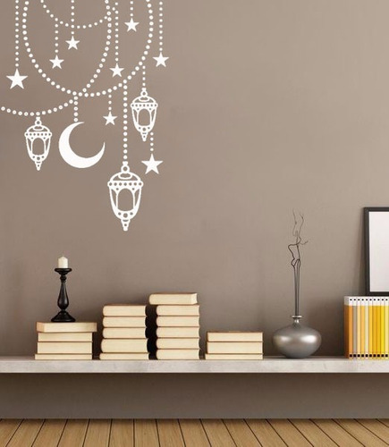 adesivo decorativo de parede lua bolinhas estrelas 90x65 cm
