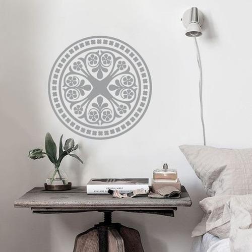 adesivo decorativo de parede mandala floral abstrato 80x80cm