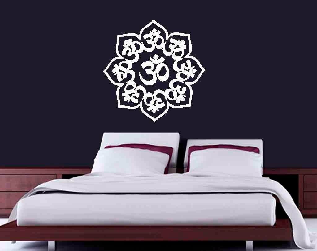 Aparador Canadá Com Tampo De Vidro ~ Adesivo Decorativo De Parede Mandala Om Mantra 60x60cm R$ 35,00 em Mercado Livre