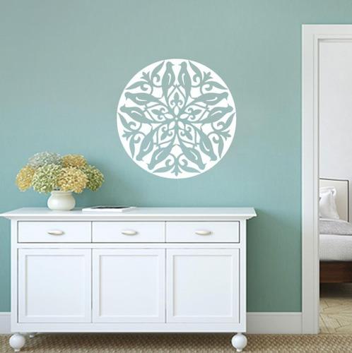 adesivo decorativo de parede mandala pássaro animal 80x80 cm