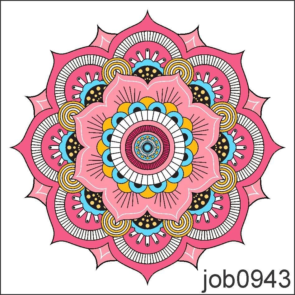 Aparador Canadá Com Tampo De Vidro ~ Adesivo Decorativo De Parede Mandala Rosa Azul Preto Job0943 R$ 64,99 em Mercado Livre