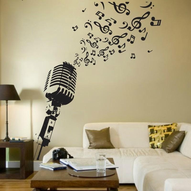 Aparador Wahl É Bom ~ Adesivo Decorativo De Parede Microfone Musical R$ 99,04 em Mercado Livre