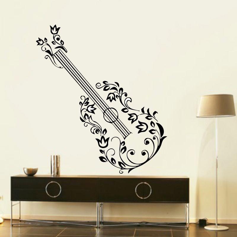 Artesanato Feltro Passo A Passo ~ Adesivo Decorativo De Parede Musical Viol u00e3o Guitarra Flores R$ 120,00 em Mercado Livre