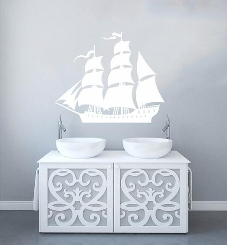 adesivo decorativo de parede navio praia mar barco 100x82 cm