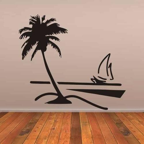 adesivo decorativo de parede palmeiras praia ilha mar barco